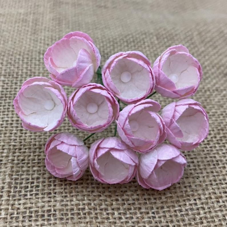 50 2-TONE BABY PINK/IVORY MULBERRY PAPER BUTTERCUPS