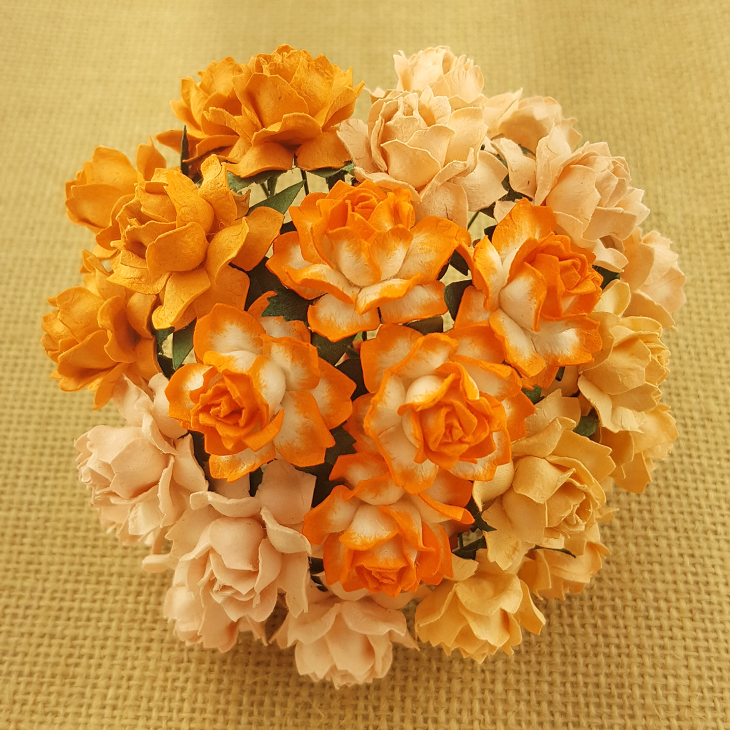 50 MIXED PEACH/ORANGE MULBERRY PAPER COTTAGE ROSES - 5 COLOR