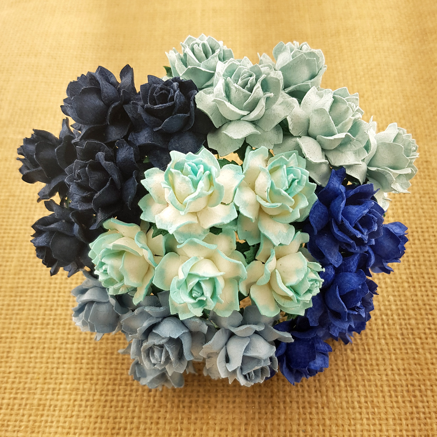 50 MIXED BLUE TONE MULBERRY PAPER COTTAGE ROSES - 5 COLOR