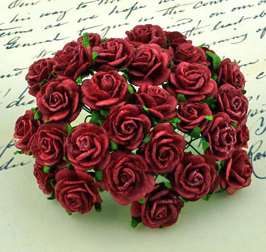 100 DEEP RED MULBERRY PAPER OPEN ROSES
