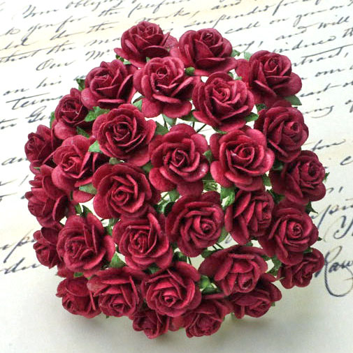 100 BURGUNDY MULBERRY PAPER OPEN ROSES