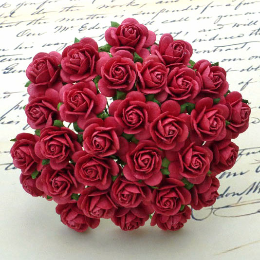 100 CORAL RED MULBERRY PAPER OPEN ROSES