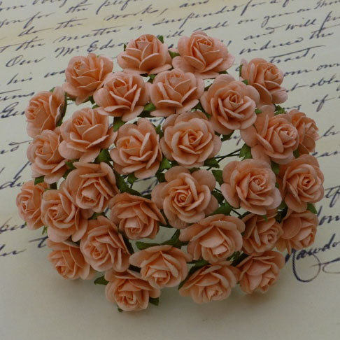 100 PEACH MULBERRY PAPER OPEN ROSES