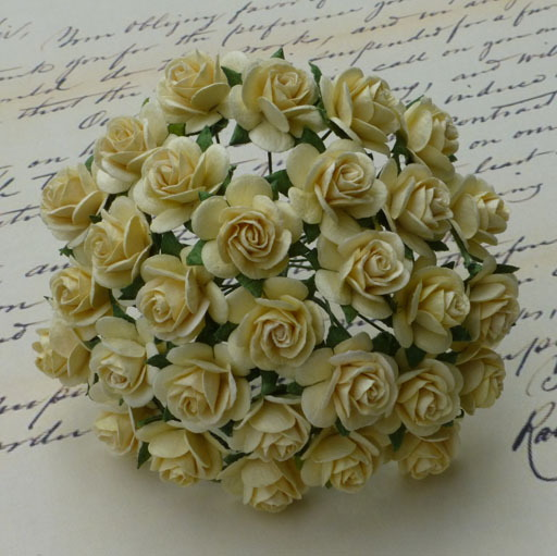 100 CREAM MULBERRY PAPER OPEN ROSES