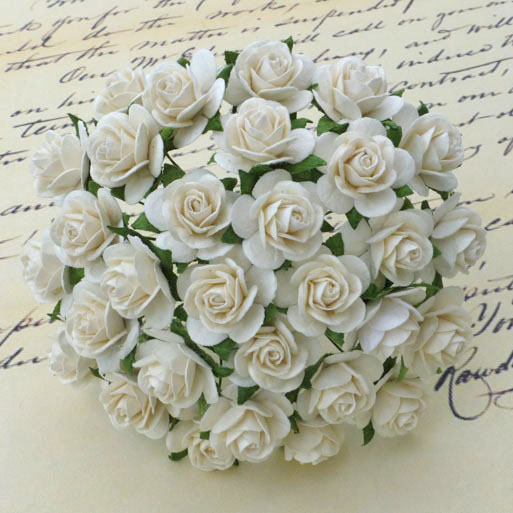 100 IVORY MULBERRY PAPER OPEN ROSES