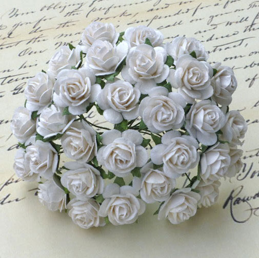 100 WHITE MULBERRY PAPER OPEN ROSES
