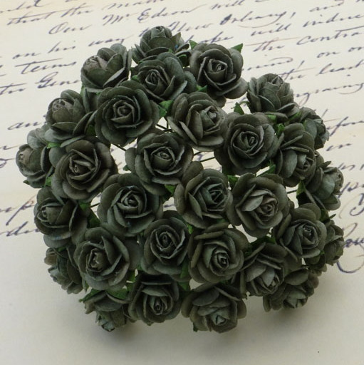 100 OLIVE GREEN MULBERRY PAPER OPEN ROSES