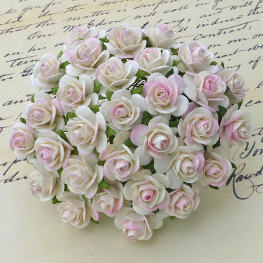 100 2-TONE IVORY/PALE PINK MULBERRY PAPER OPEN ROSES