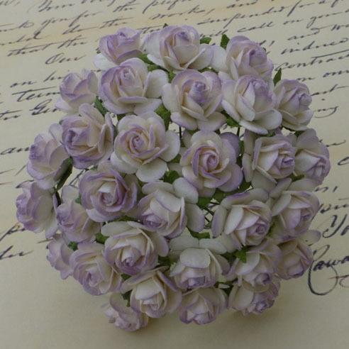 100 2-TONE PALE LILAC MULBERRY PAPER OPEN ROSES