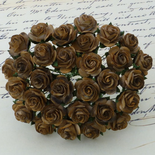 100 2-TONE CHOCOLATE BROWN MULBERRY PAPER OPEN ROSES