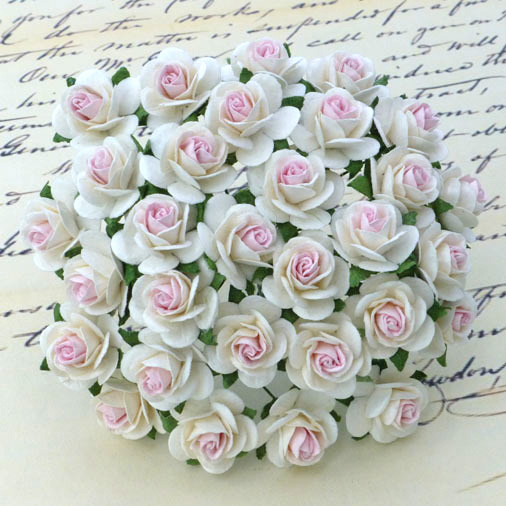 100 2-TONE WHITE WITH BABY PINK CENTRE MULBERRY PAPER OPEN ROSES