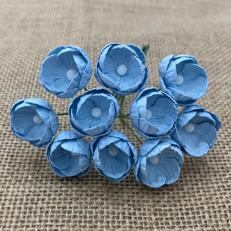 50 BABY BLUE MULBERRY PAPER BUTTERCUPS