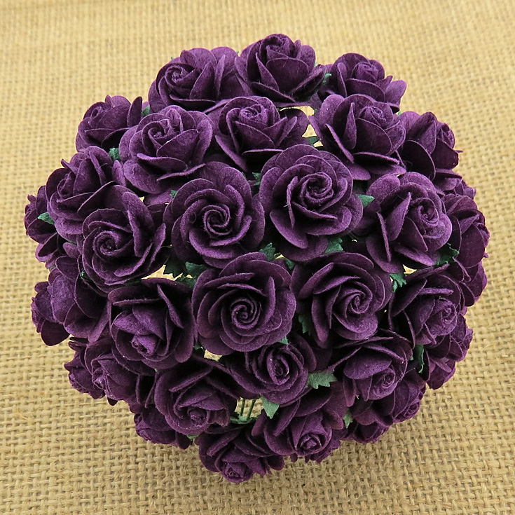 100 PURPLE MULBERRY PAPER OPEN ROSES