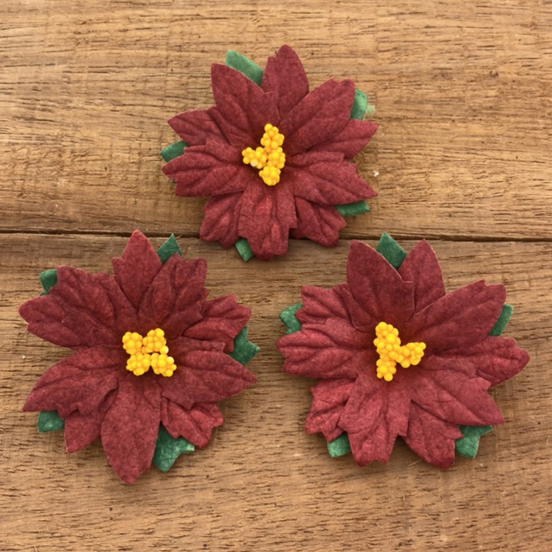 25 LARGE DEEP RED MULBERRY PAPER FLOWER POINSETTIAS - 50mm