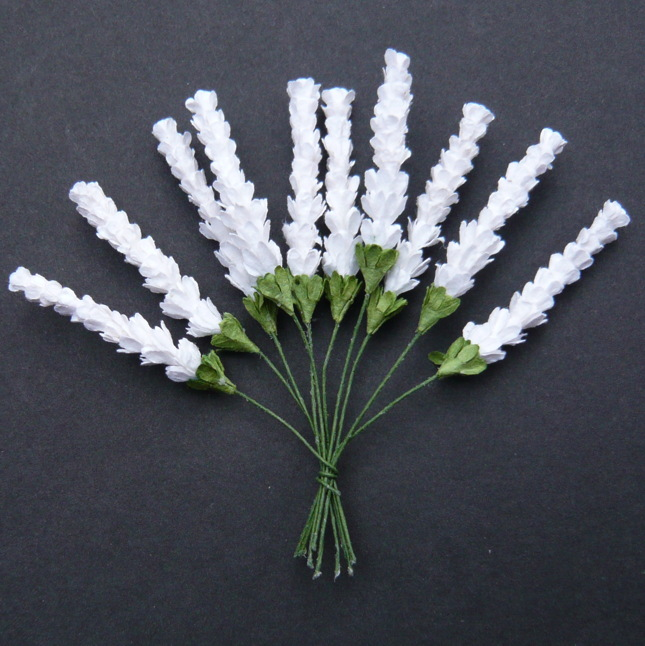50 WHITE MULBERRY PAPER HEATHER STEMS