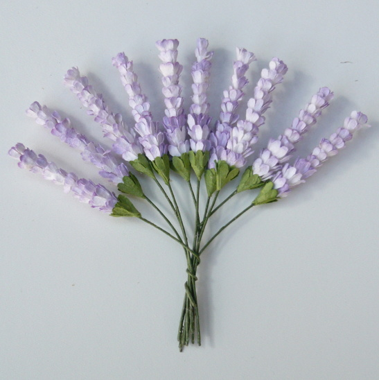 50 2-TONE LILAC MULBERRY PAPER HEATHER STEMS