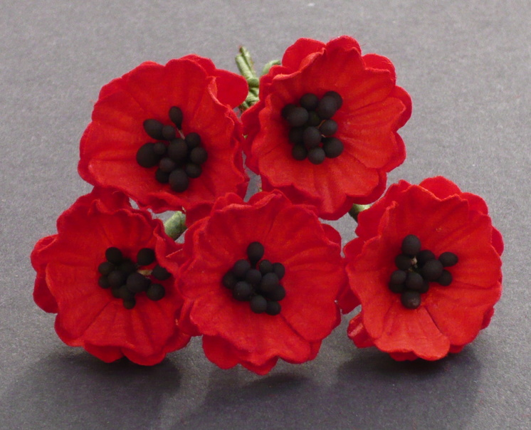 50 RED MULBERRY PAPER POPPY FLOWERS