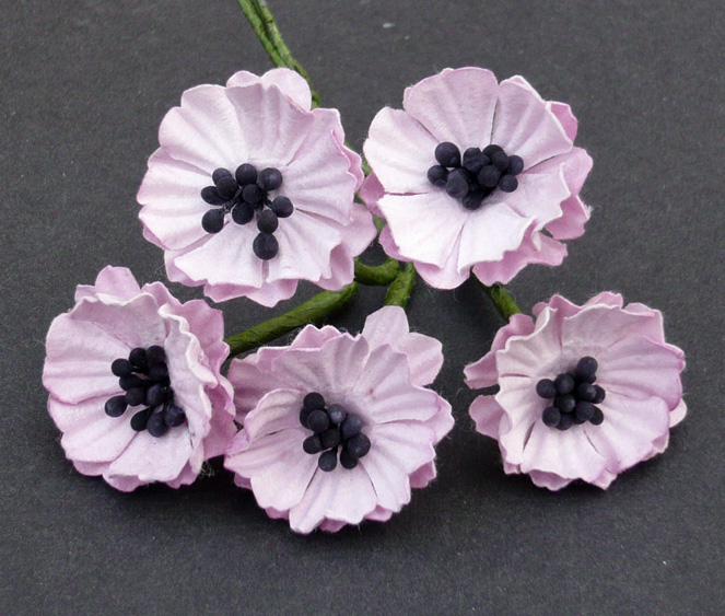 50 BABY PINK MULBERRY PAPER POPPY FLOWERS