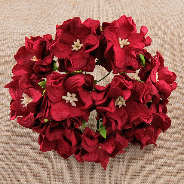 25 DEEP RED GARDENIA FLOWERS
