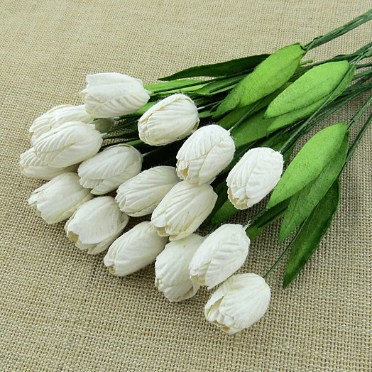 50 WHITE MULBERRY PAPER TULIP FLOWERS WITH LEAF STEMS