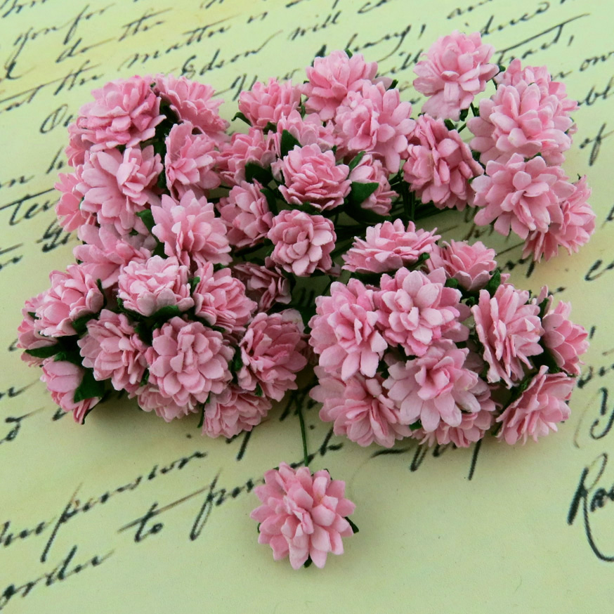 50 BABY PINK MULBERRY PAPER ASTER DAISY STEM FLOWERS