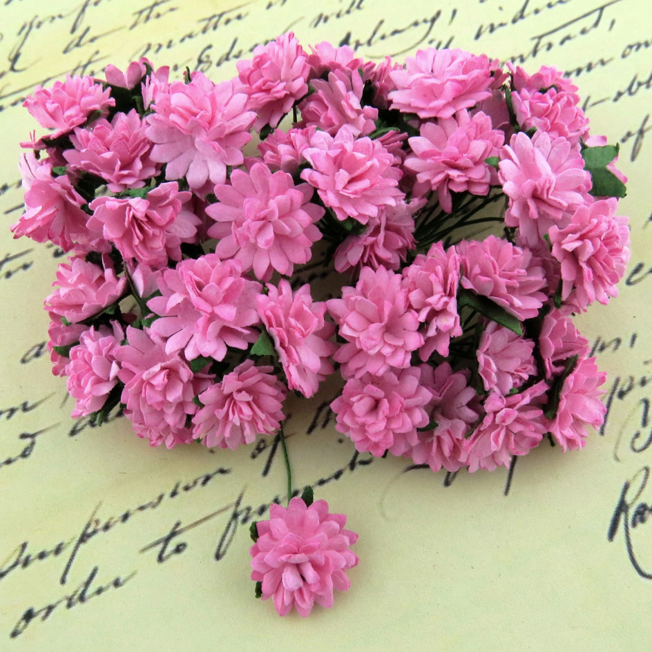 50 PINK MULBERRY PAPER ASTER DAISY STEM FLOWERS