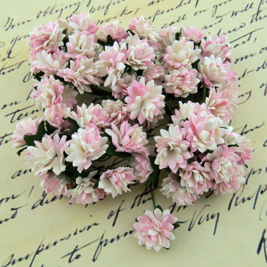50 2-TONE BABY PINK/IVORY MULBERRY PAPER ASTER DAISY STEM FLOWERS