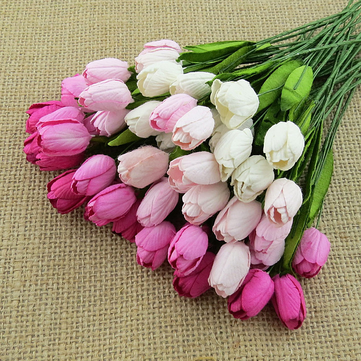 Mixed Pink Mulberry Paper Tulip Flowers