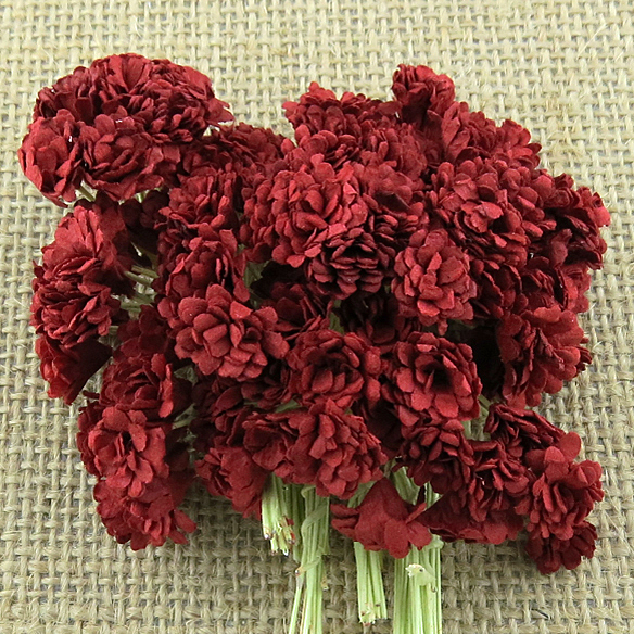 100 DEEP RED MULBERRY PAPER GYPSOPHILA FLOWERS