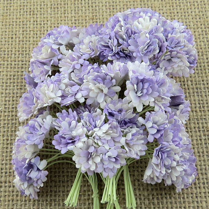 100 2-TONE LILAC MULBERRY PAPER GYPSOPHILA FLOWERS