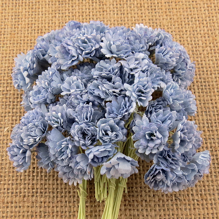100 2-TONE ANITQUE BLUE MULBERRY PAPER GYPSOPHILA FLOWERS