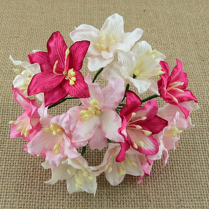 50 MIXED PINK AND WHITE MULBERRY PAPER LILY FLOWERS