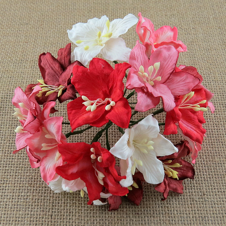 50 MIXED RED AND WHITE MULBERRY PAPER LILY FLOWERS