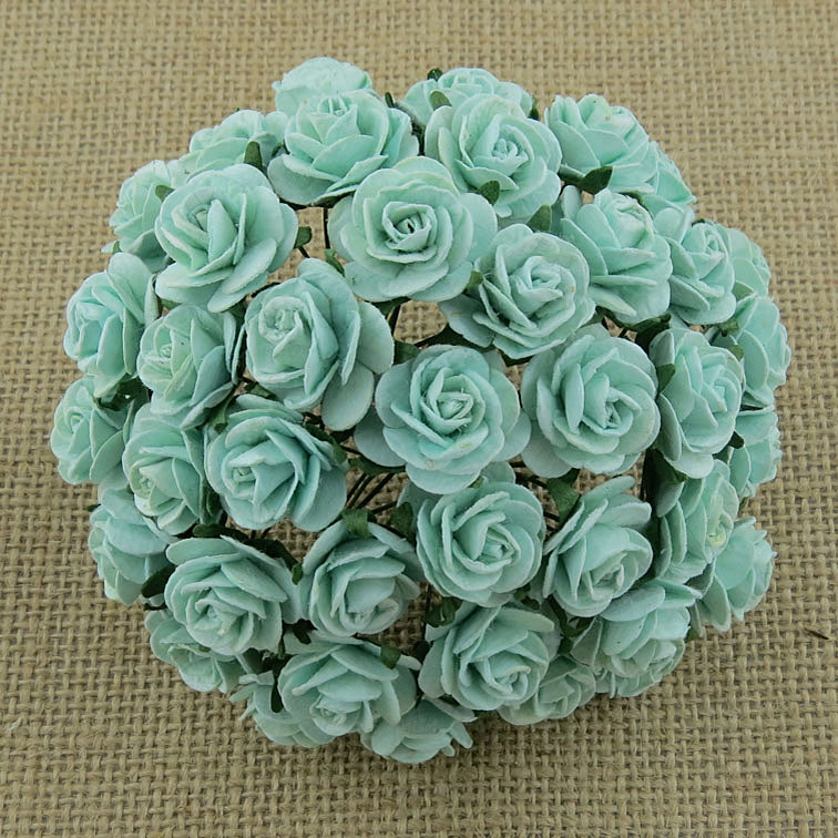 100 PASTEL GREEN MULBERRY PAPER OPEN ROSES