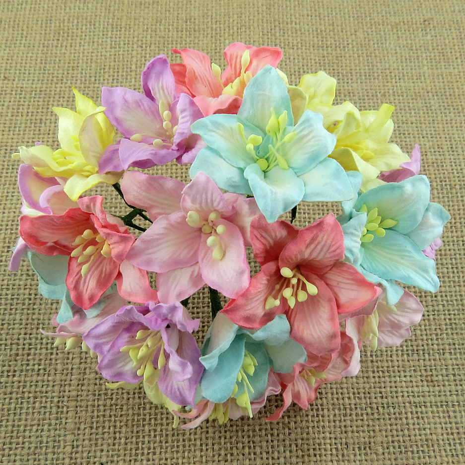 50 MIXED PASTEL COLOUR MULBERRY PAPER LILY FLOWERS