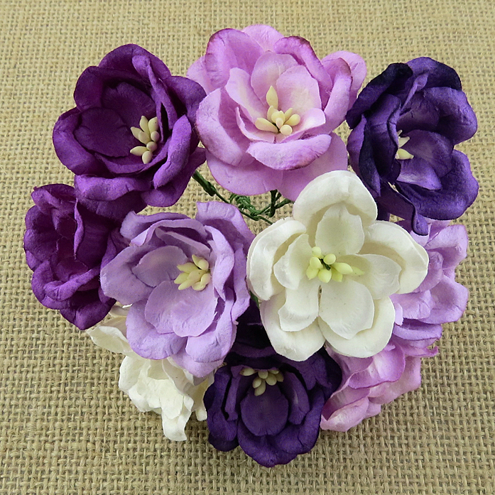 50 MIXED PURPLE/LILAC MULBERRY PAPER MAGNOLIAS
