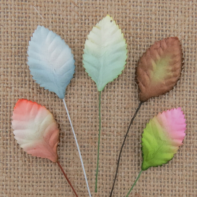 100 MIXED 2-TONE MULBERRY PAPER ROSE LEAVES - 30mm