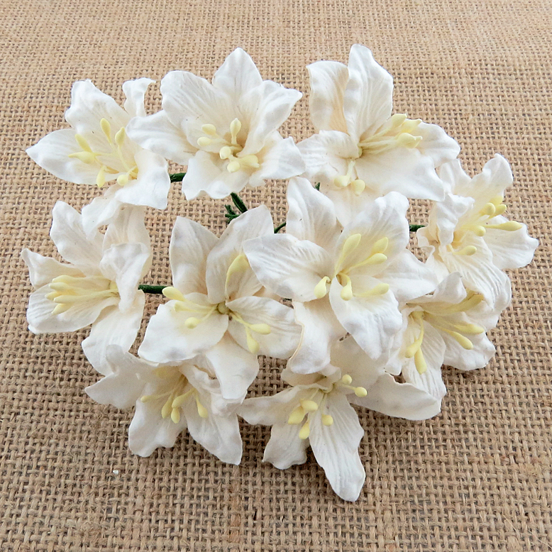 50 WHITE MULBERRY PAPER LILY FLOWERS