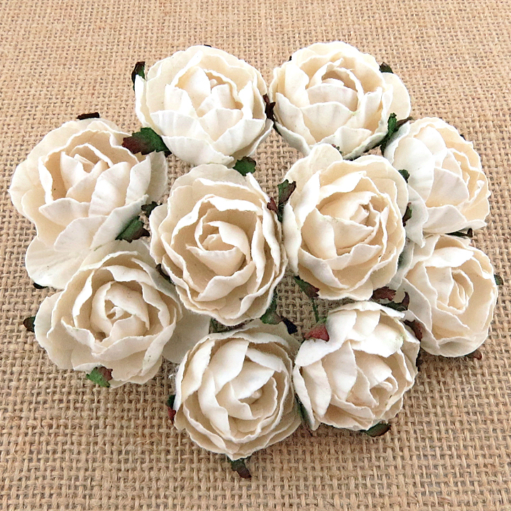50 WHITE PEONY MULBERRY PAPER FLOWERS