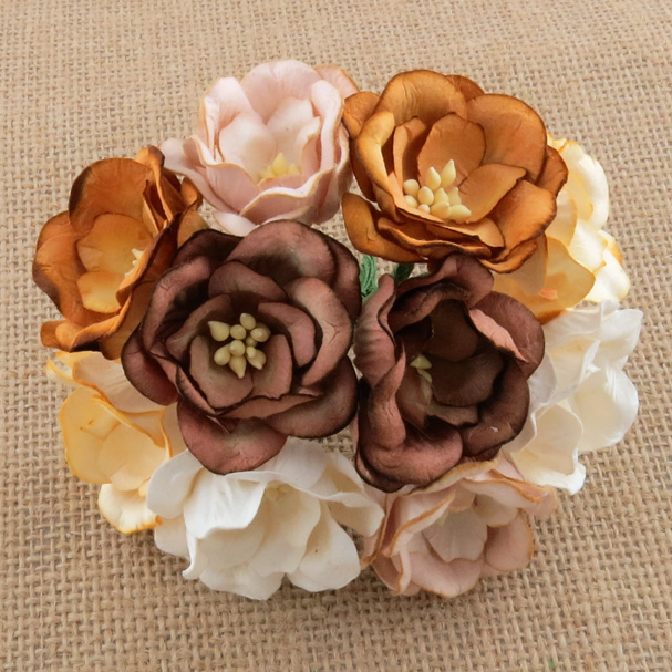 50 MIXED COLOUR EARTH TONE MULBERRY PAPER MAGNOLIAS