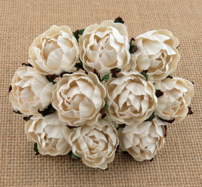 50 IVORY PEONY MULBERRY PAPER FLOWERS