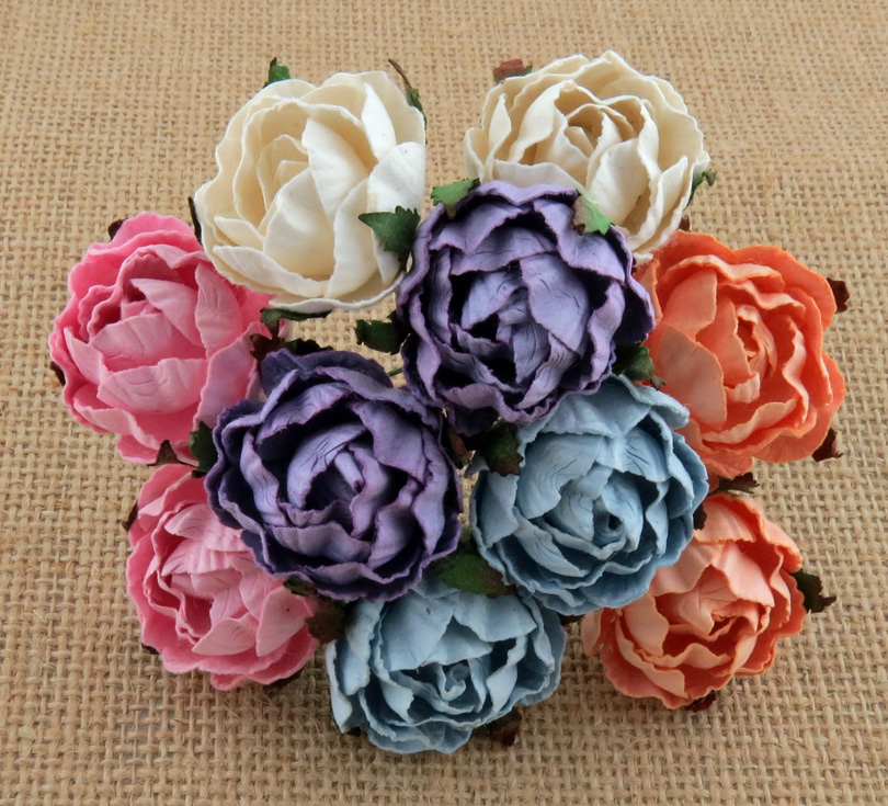 50 MIXED COLOUR PEONY MULBERRY PAPER FLOWERS