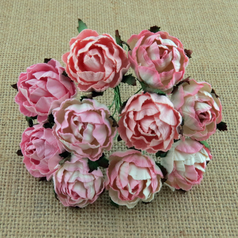 50 MIXED PINK PEONY MULBERRY PAPER FLOWERS