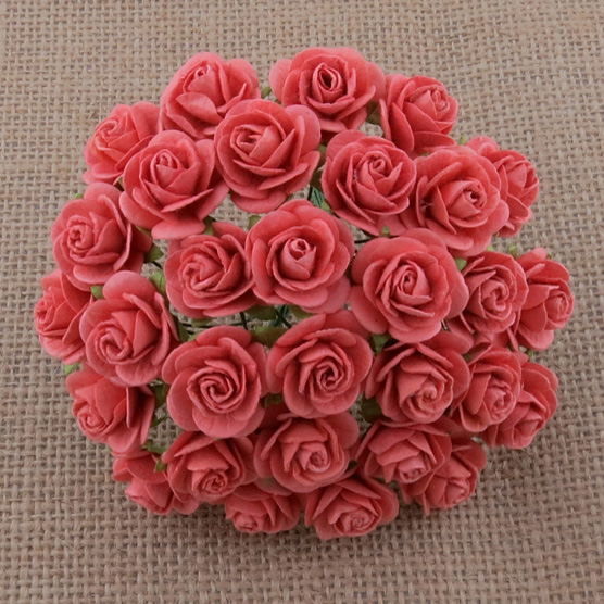 100 CORAL MULBERRY PAPER OPEN ROSES