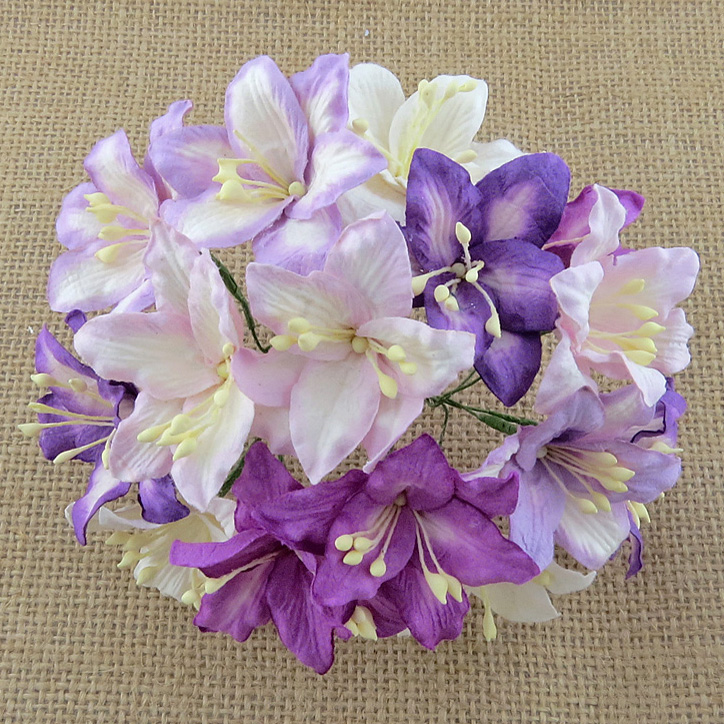 50 MIXED PURPLE/LILAC AND WHITE MULBERRY PAPER LILY FLOWERS