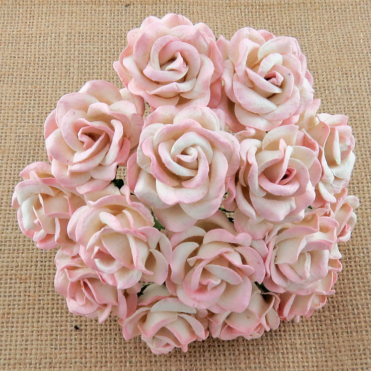 50 2-TONE BABY PINK/IVORY MULBERRY PAPER CHELSEA ROSES