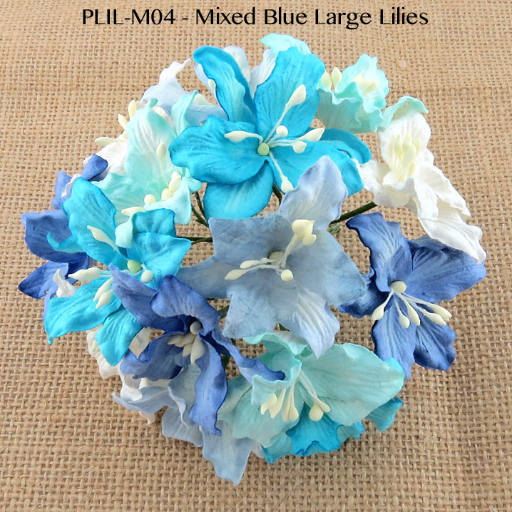 50 MIXED BLUE AND WHITE MULBERRY PAPER LILY FLOWERS
