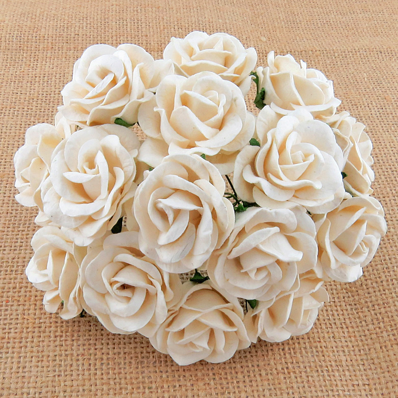 50 IVORY MULBERRY PAPER CHELSEA ROSES