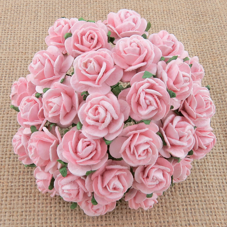 100 PALE PINK MULBERRY PAPER OPEN ROSES