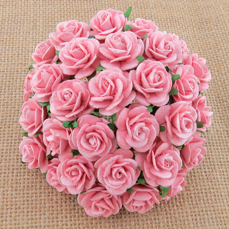 100 BABY PINK MULBERRY PAPER OPEN ROSES